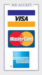 We accept Visa, Master, and AE Credit Cards.