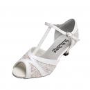 GO7305, White Leather / Silver Glitter